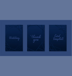 set luxury wedding invitation card with blue vector image