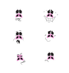 set of cute cartoon - pig vector image