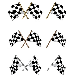 Set of racing checkered flags vector