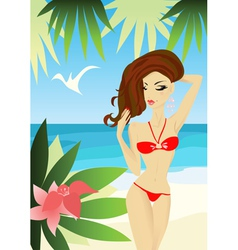 sexy woman on the beach vector image