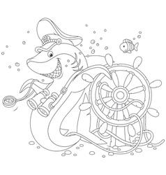 shark captain vector image