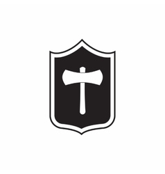 Shield with an axe icon simple style vector