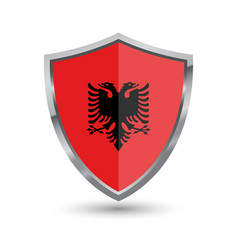 shield with flag of albania isolated on white back vector image