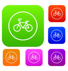 Sign bike set collection vector