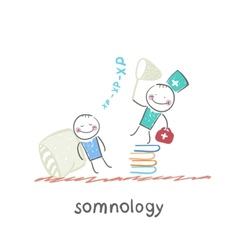 Somnology standing on a pile of books and catches vector