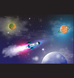 Space exploration with retro rocket planets and vector