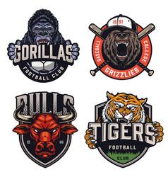 sports teams colorful emblems set vector image
