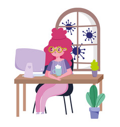 Stay at home young woman watching computer with vector
