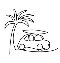 Summer holiday car trip one line drawing vector