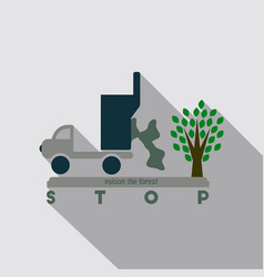 The machine throws rubbish under a tree text stop vector