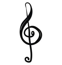 Treble clef in black ink or color vector