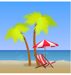 tropical beach with chaise lounge under pam trees vector image