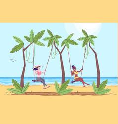 Two women on swings flat doodle beach activity vector