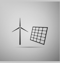 wind mill turbines generating electricity and vector image
