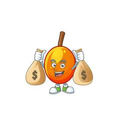 With money bag jocote fruit with character cartoon vector