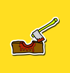 Wooden axe isolated on background element vector