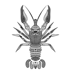 Zentangle stylized Black Crawfish Hand Drawn vector image