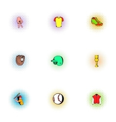 Baseball sport icons set pop-art style vector image vector image