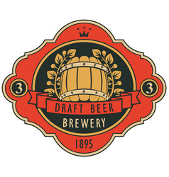 beer label with barrel laurel wreath and ribbon vector image vector image