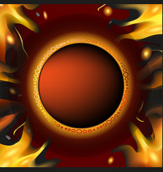 Brown template background with fire vector