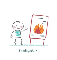 firefighter said the presentation of the fire vector image vector image