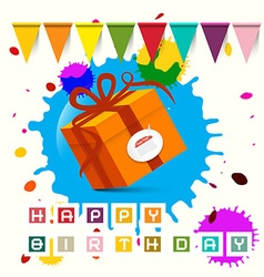Happy Birthday - Gift Box with Flags and Blots - vector image vector image