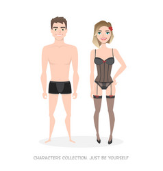 man and woman in lingerie cartoon style vector image
