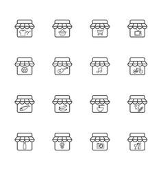 market and shop icon set vector image