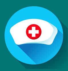 nurse hat icon flat nurse icon vector image vector image