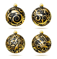 Set of Black and gold Christmas balls vector image vector image