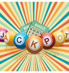 bingo balls and cards on retro starburst vector image vector image
