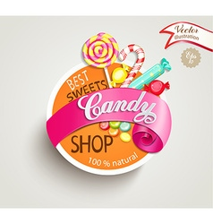 Candy shop label vector image