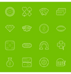 Casino thin lines icons set vector image