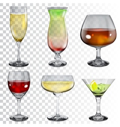 Set of transparent glass goblets vector image