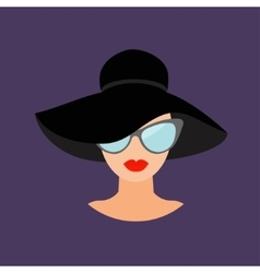Woman in black hat and sun glasses Avatar people vector image