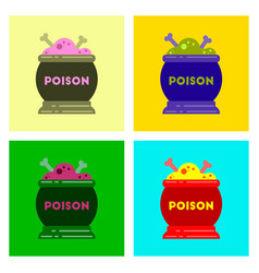assembly flat icons of potion cauldron vector image vector image