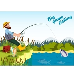 Fisherman fishing at lake with rod and catching vector image