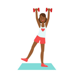 woman doing exercises with dumbbells dressed in vector image