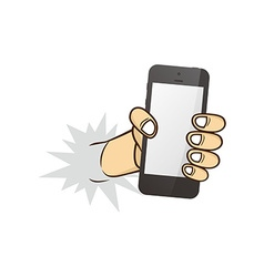 cartoon hand holding phone vector image vector image