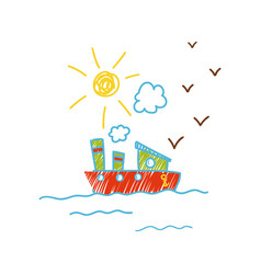 childish drawing of ship in the sea vector image