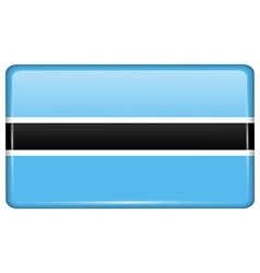 Flags Botswana in the form of a magnet on vector image