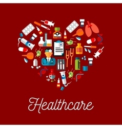 Healthcare flat symbols in a shape of heart vector image vector image