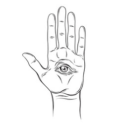 spiritual hand with the allseeing eye on the palm vector image vector image