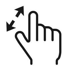 2 finger zoom in line icon touch and gesture vector image