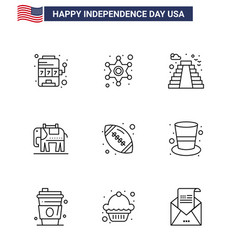 9 creative usa icons modern independence signs vector