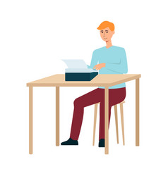 A red haired man writer in pants and a sweater is vector