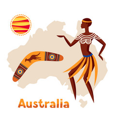 Australia map with woman vector