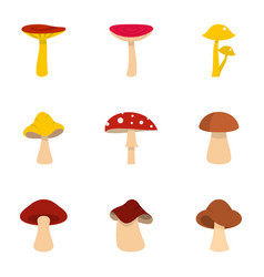 autumn mushroom icon set flat style vector image