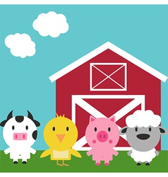 Barn and Cute Farm Animals Set vector image