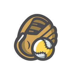 Baseball glove and ball icon cartoon vector